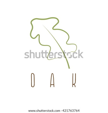 oak leaf abstract outline vector design template - stock vector
