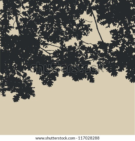 oak leaves and branches silhouette. detailed vector illustration - stock vector