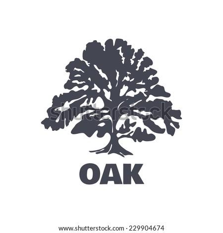 Oak Tree Logo Silhouette isolated. Vector illustration - stock vector