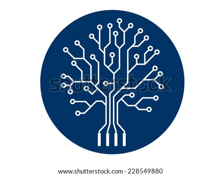 Oak tree stylized as an electronic circuit - stock vector