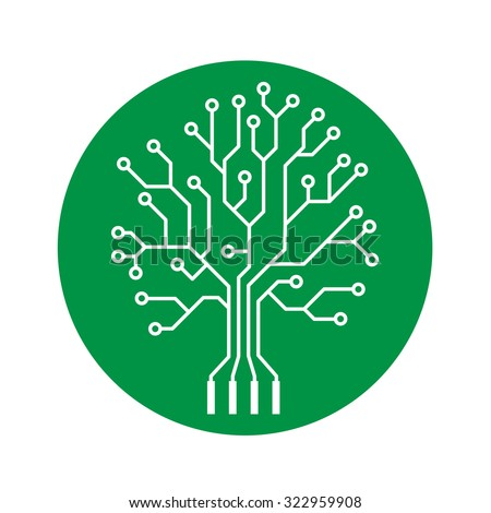 Oak tree stylized as an electronic circuit on green circle