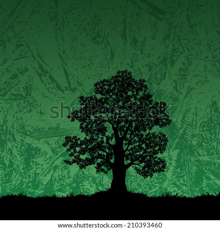 Oak tree with leaves and grass black silhouette on abstract green background. Vector - stock vector