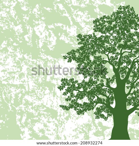 Oak tree with leaves silhouette on abstract green and white background. Vector - stock vector