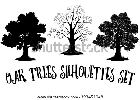 Oak Trees Black Silhouettes - stock vector