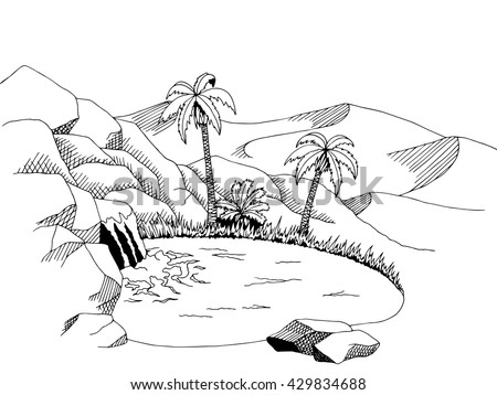 desert oasis drawing - photo #24