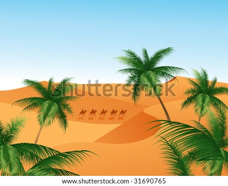 Oasis, vector illustration, EPS file included - stock vector