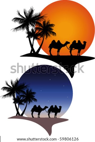 Oasis with camels night and day