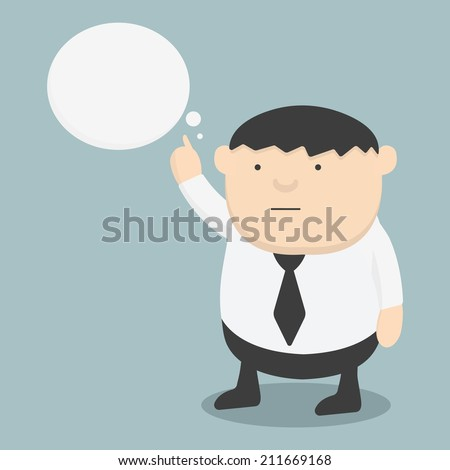 Obese businessman pointing the words - stock vector
