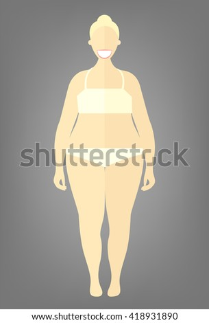 Obese woman. Flat style illustration. Blonde girl in white underwear with excess weight. Vector cartoon character.