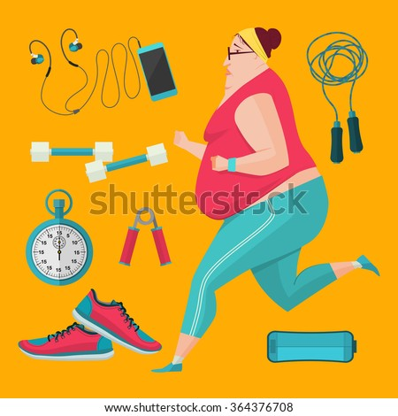 Obese women jogging to lose weight. Vector Illustration flat style fitness equipment. - stock vector