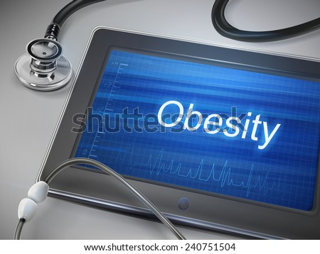 obesity word displayed on tablet with stethoscope over table - stock vector