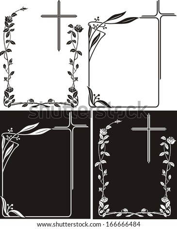 obituary notice - art deco frames with cross - stock vector
