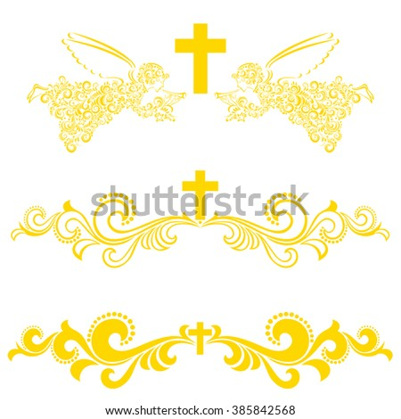 Obituary notice - art deco frames with cross. Collection of Christian Symbol design elements isolated on White background. Vector illustration  - stock vector