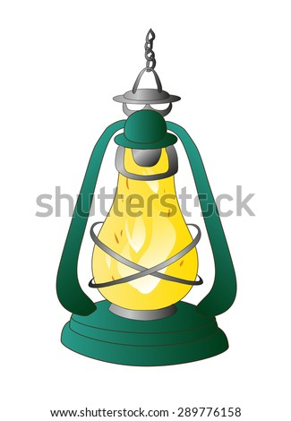object. kerosene lamp. vector - stock vector