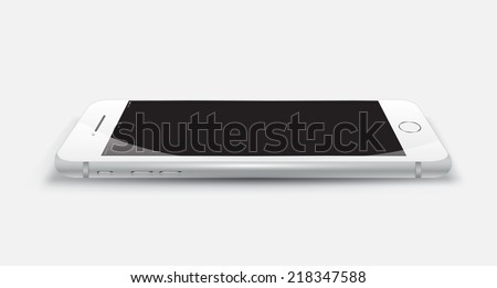Object phone white color mockup. Vector Illustration. Smartphone perspective realistic. Can use for printing and web object. Game and application mockups. - stock vector
