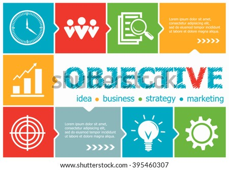 Objective design illustration concepts for business, consulting, management, career. Objective concepts for web banner and printed materials.