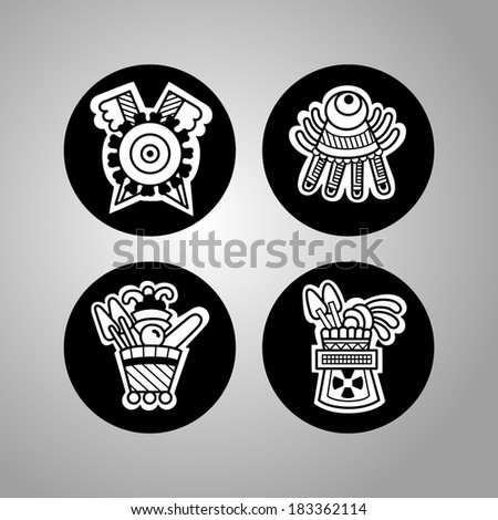 Objects. Black and white graphic image of the Maya. Maya designs. Maya design elements. - stock vector
