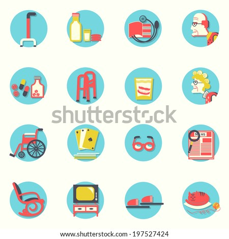 Objects for pensioners life.Vector icons - stock vector