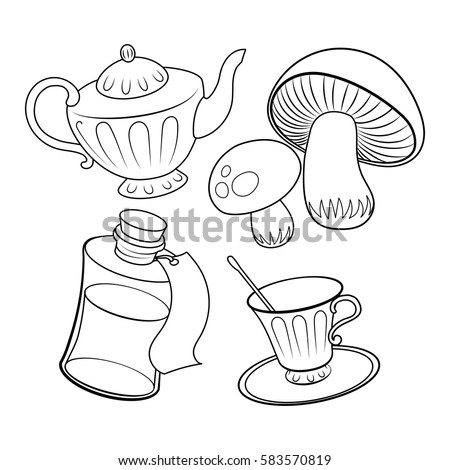 Objects From Fairy Tale Coloring Book Vector Illustration Alice Wonderland Black And White Lines