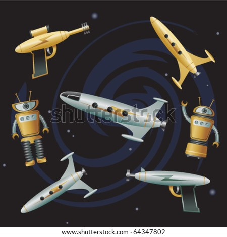 Objects From Outer Space 2 - stock vector