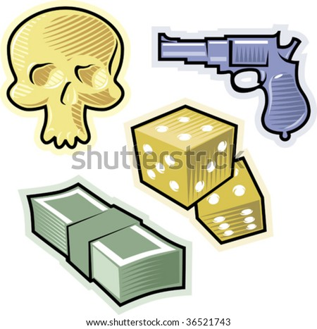 Objects of crime, risk and danger. Vector illustration. - stock vector