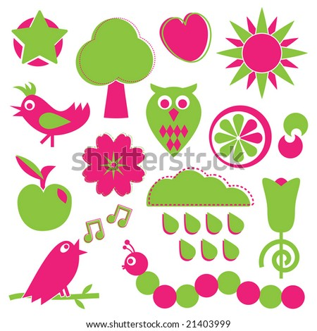 objects of nature in pink and green - stock vector