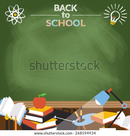Objects with Copy Space Chalk Drawing Style, School, Education, Learning and Study - stock vector