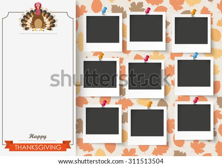 Oblong banner with 9 pics, ribbon, turkey and foliage. Eps 10 vector file. - stock vector
