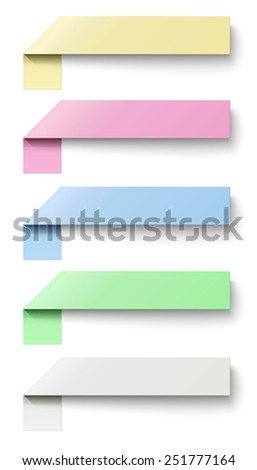 Oblong sticky notes isolated on white background - stock vector