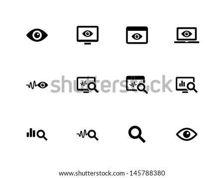 Observation and Monitoring icons on white background. Vector illustration. - stock vector