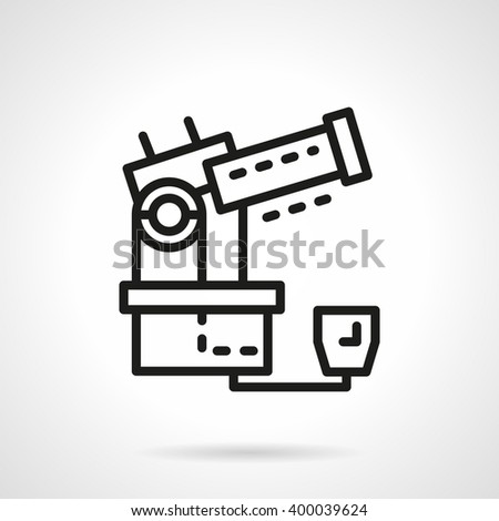 Observatory equipment. Large optical electric telescope. Space research. Science and education. Simple black line vector icon. Single element for web design, mobile app. - stock vector