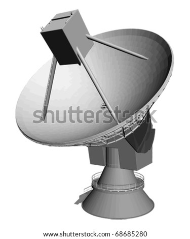 observatory satellite dish in different positions, vector isolated object - stock vector
