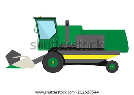 Obsolete green harvester on a white background - stock vector