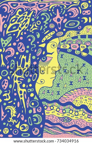 Occult Shaman Gothic Girl Ancient Goddess Of The Moon Doodle Psychedelic Graphic Illustration