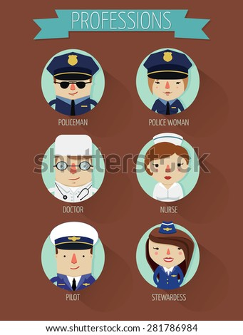 occupation set in circle, characters of professions, flat character design, vector illustration, policeman, police woman, doctor, nurse, pilot, stewardess - stock vector