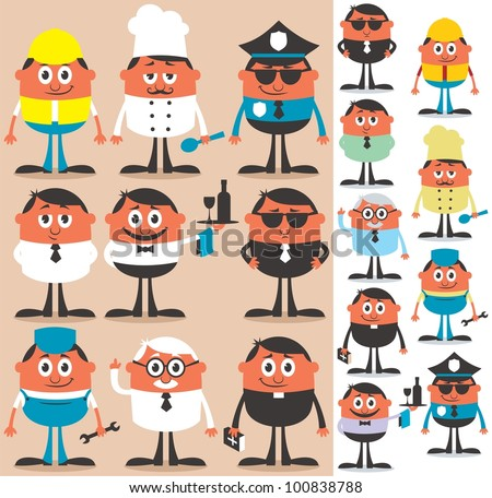 Occupations: Set of cartoon characters of different occupations. No transparency and gradients used. - stock vector