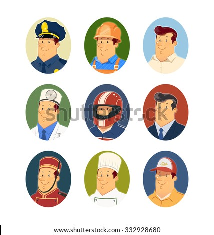 Occupations. Set of vector icons vector illustration. Isolated on white background. Transparent objects used for lights and shadows drawing. - stock vector