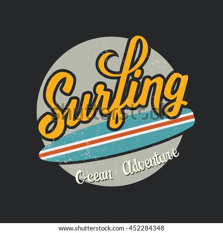 Ocean adventure surfing theme  graphic  with grunge