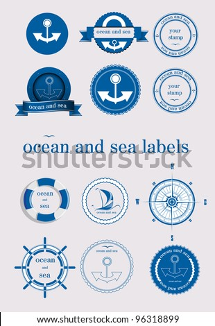ocean and sea labels and stamp vector - stock vector