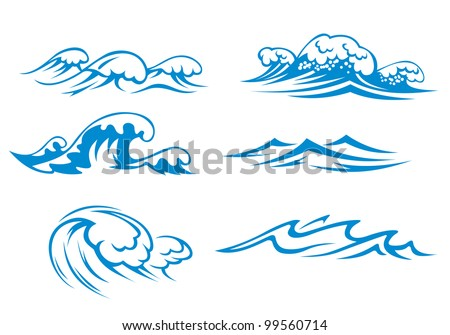 Ocean and sea waves set for design, such  a logo. Jpeg version also available in gallery - stock vector