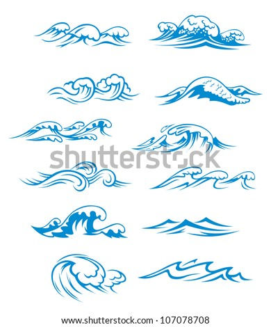 Ocean and sea waves set isolated on white background, such as emblem or logo template. Jpeg version also available in gallery - stock vector
