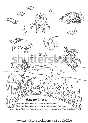 Ocean Bottom Frame Coloring Book Page In Doodle Stile Marine Inhabitants Hand Draw