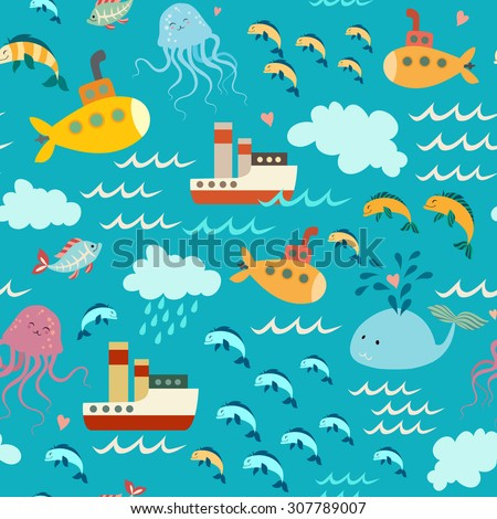 Ocean element, baby decorative vector seamless pattern