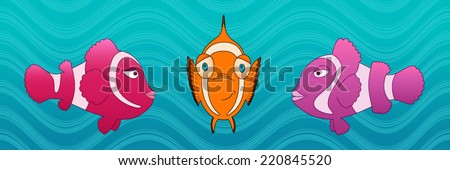 Ocean fishes underwater cartoon style vector illustration. Wildlife of a clown fish. Kids book digital picture. Under the sea. - stock vector