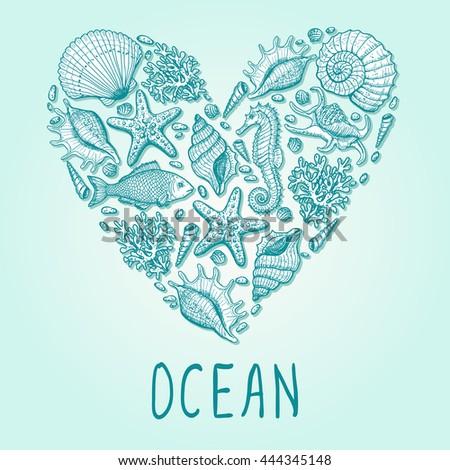 Ocean heart. Original hand drawn illustration in vintage style - stock vector