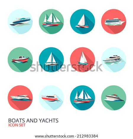 Ocean holiday business voyage tour cruise yacht liner ship  flat round solid isolated icons set isolated vector illustration - stock vector