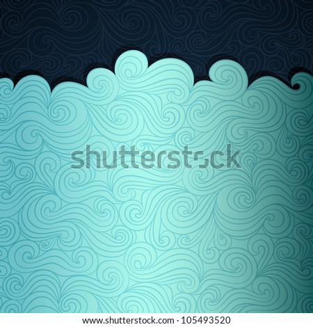 Ocean life banner made of fancy paper, vector eps8 illustration - stock vector