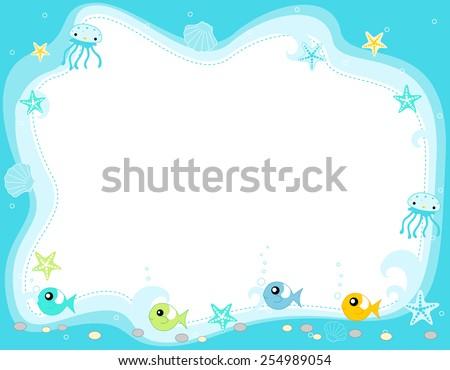 Ocean life, marine life border with cute fish , jellyfish, star fish and seashells illustration  - stock vector