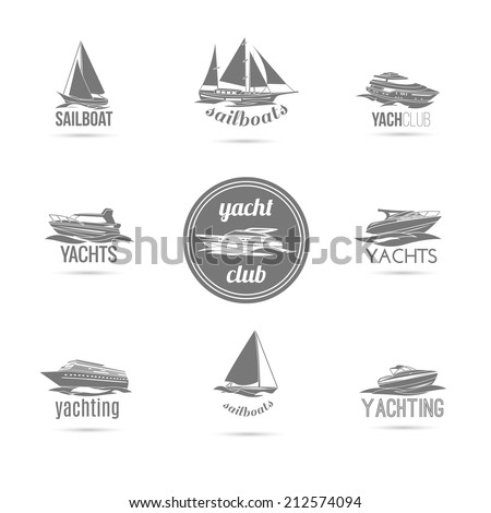 Ocean marine yacht club sail and speed motor boats black silhouettes graphic sketch emblems isolated vector illustration - stock vector