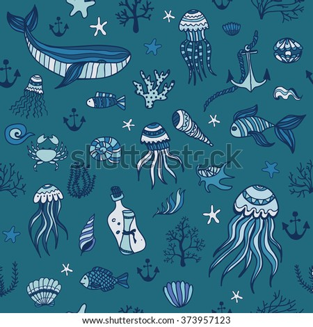 Ocean. Sea. Seamless hand drawn pattern with cute linear marine animals and plants. Vector illustration